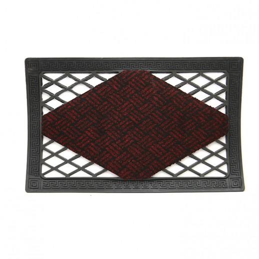 Italian Black Door Mat (40 x 65 cm) - Maroon
