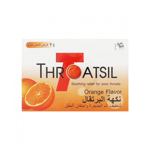 Throatsil Soothing Relief For Sore Throats Orange Flavor 24 Lozenges