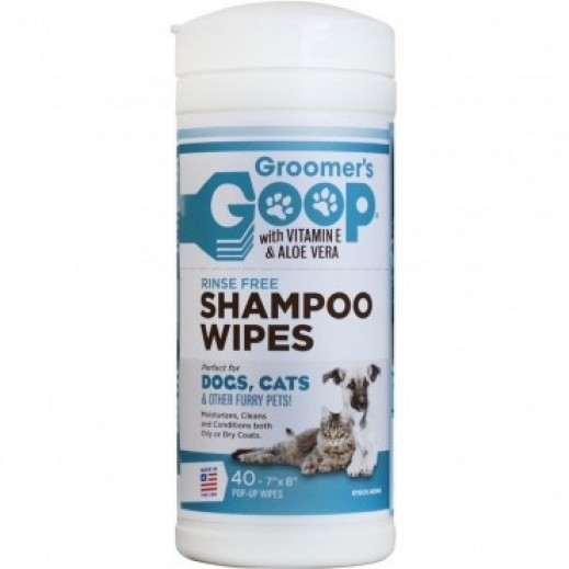 Groomers Goop With Vitamin E & Aloe Vera Rinse Free Shampoo Wipes For Pets 40 count