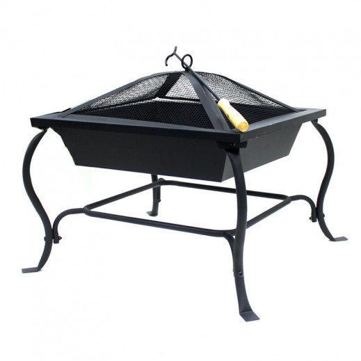 Metallic Square Fire Pit 61 x 61 x 4 5 cm