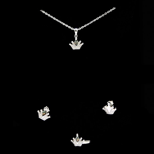 W.M Zircon Swiss Sterling Silver Crown Jewellery Set Size 7 (Model: N6-27)