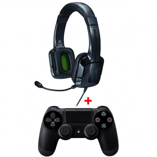 PS4 Wireless Controller - Black + PS4 Tritton headset