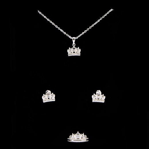 W.M Zircon Swis Sterling Silver With White Stones Jewellery Set Size 7 (Model: N6-21)