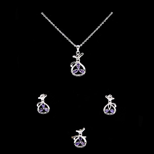 W.M Zircon Swis Sterling Silver With Purple Stones Jewellery Set Size 7 (Model: A19367)