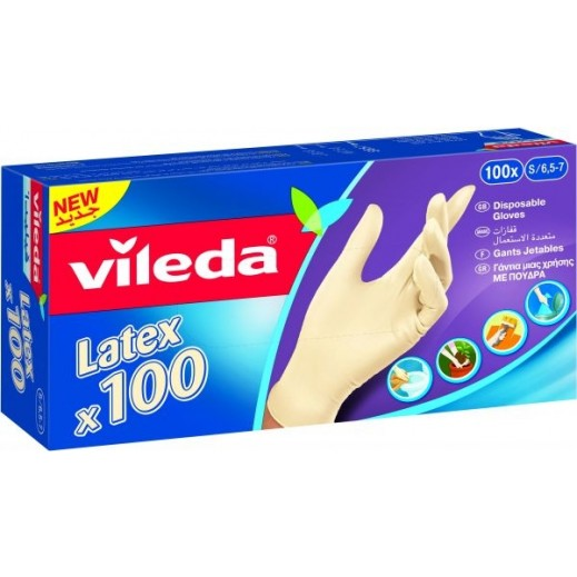 Vileda Latex Gloves Small - 100 Pieces