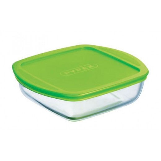 Pyrex Cook & Store Square Dish with Green Lid 0.35 L