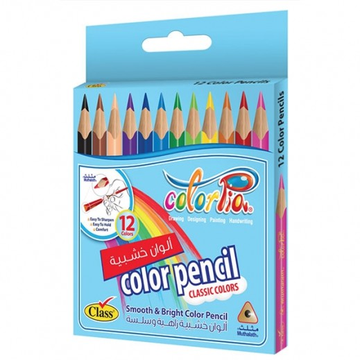Colorpia 12 Color Pencils Mini Muthalath Carton Box