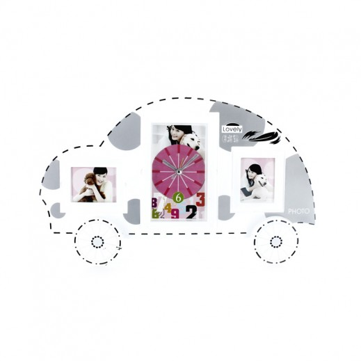 Lovely Car Clock & Photo Frame - White