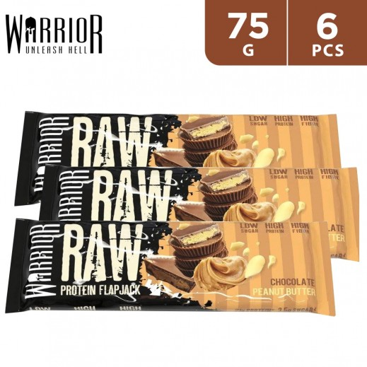 Warrior Raw Protein Flap Jack Chocolate Peanut Butter Bar 6 x 75 g