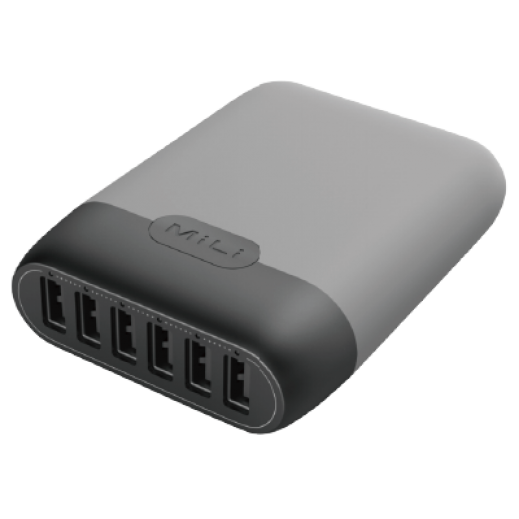 MiLi Charger Station II 6-port USB - Grey
