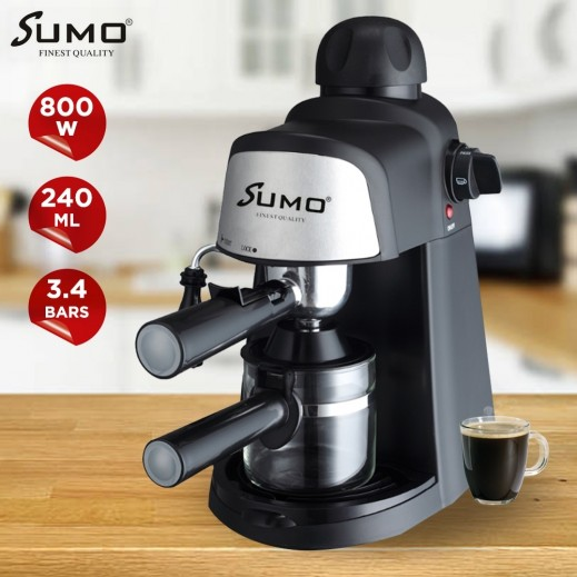 Sumo 800W Espresso Coffee Maker 240ml 4 Cups - Black