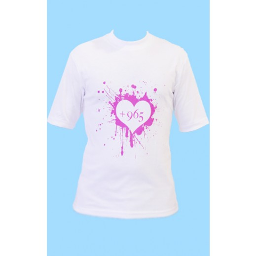 Pink +965 Heart White T-Shirt (Large)