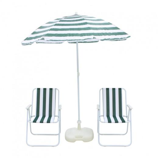 Beach Chairs & Umbrella Set Green