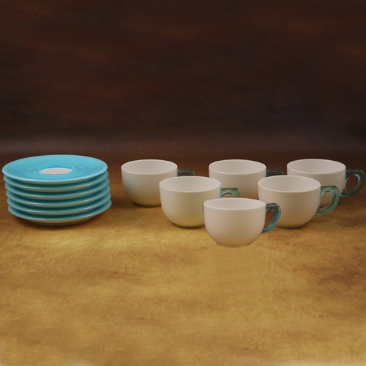 Daybreak Acrylic Cup and Saucer Set Blue- 12 Pieces