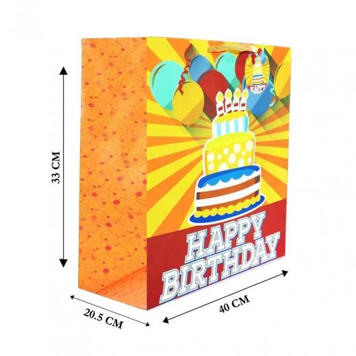 Birthday Gift Bag Orange - 40 x 33 x 20.5cm