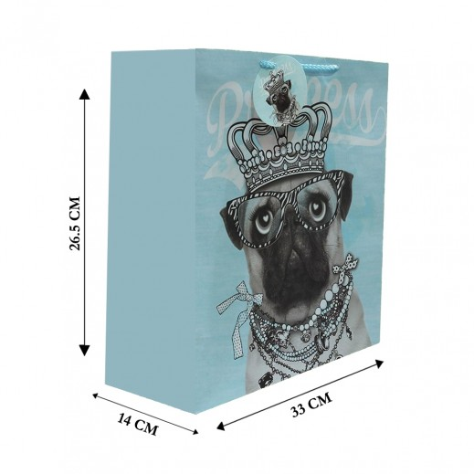 Dog Print Gift Bag - 26.5 x 33 x 14cm