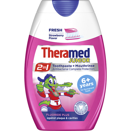 Theramed Junior 2 In 1 Fluoride Plus Toothpaste + Mouthrinse 75 ml 6+ Years