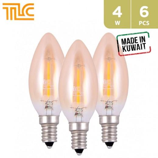TLC LED E14 C35 Golden Filament 4W Bulb - Warm White - 6PCS