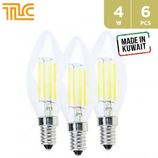 TLC LED E14 C35 Clear Filament 4W Bulb - Warm White - 6PCS