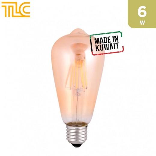 TLC LED E27 ST64 Golden Filament 6W Bulb - 1PCS