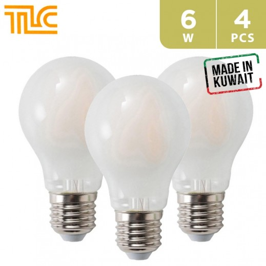 TLC LED E27 A60 Frosted Filament 6W Bulb - White - 4PCS