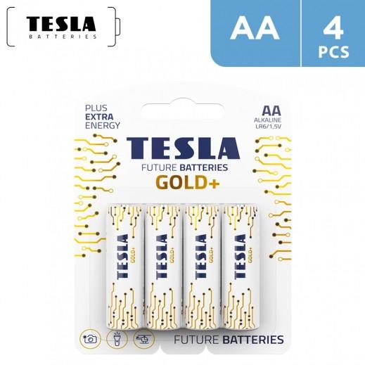 Tesla GOLD Alkaline Batteries AA -  4 Pieces