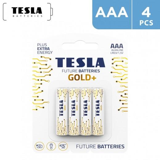 Tesla GOLD Alkaline Batteries AAA -  4 Pieces