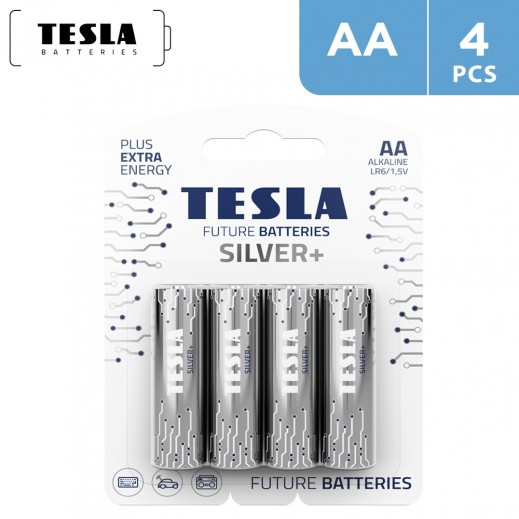 Tesla SILVER+ Alkaline Batteries AA -  4 Pieces