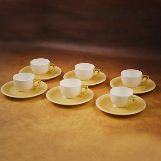Daybreak Acrylic Small Cup and Saucer Set Yellow- 12 Pieces