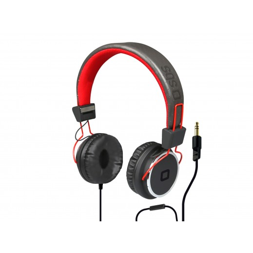 SBS Stereo Headphone Cuffie With Microphone Black Red