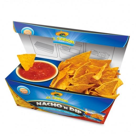 El Sabor Salted Nacho Chips & Salsa Sauce 175 g