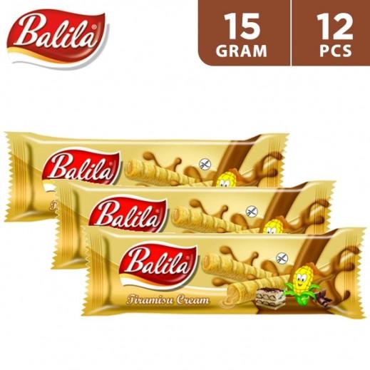 Balila Puffy Corn Fingers Filled w/ Tiramisu Flavour Cream 12 x 15 g