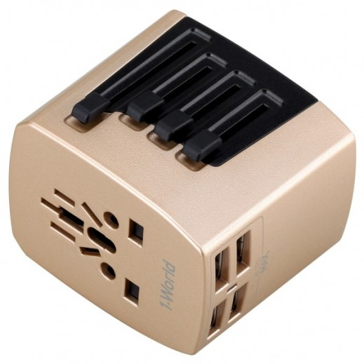 MoMax Universal Travel Adapter with 4 USB - Gold
