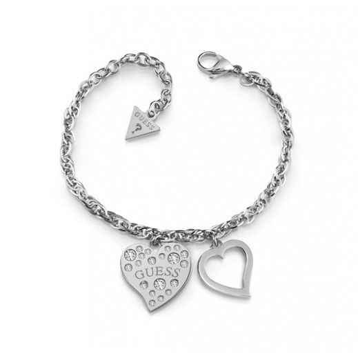 Guess Heart Warming Silver Frame&Crystal Bracelet (L) - delivered by Beidoun Within 2 Working Days