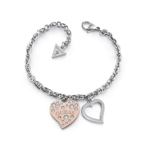Guess Heart Warming Silver & Rose Gold Frame Crystal Bracelet (L) - delivered by Beidoun Within 2 Working Days
