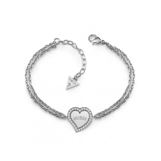 Guess Heart Warming Silver Heart&Logo Central Charm Bracelet (L) - delivered by Beidoun Within 2 Working Days