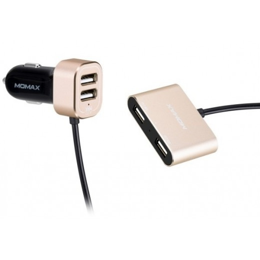 MoMax Car Charger with Extension HUB - Champagne