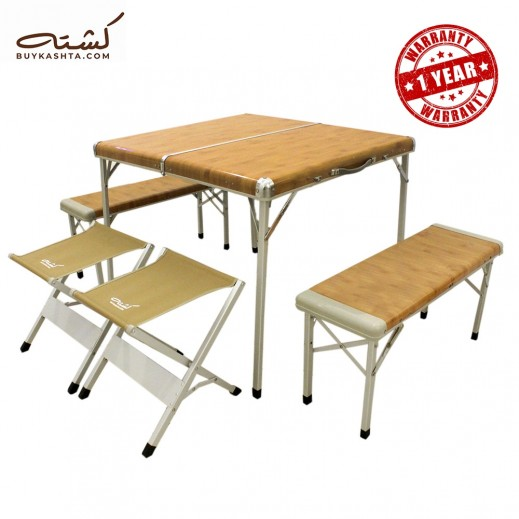 Kashta 6 Person Foldable Family Table and Chairs Set