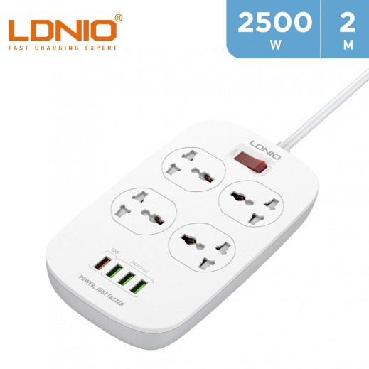 LDNIO 4 Sockets Power Extension 2m with 4 USB Ports - White