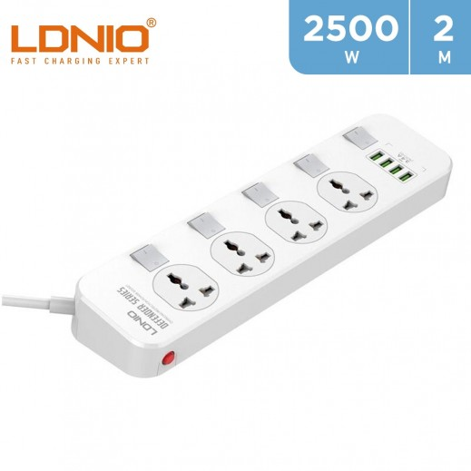 LDNIO 4 Sockets Power Extension 2m with 4 USB Ports - Rectangle