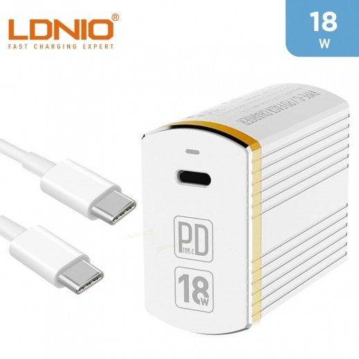 LDNIO 18W Wall Charger + USB-C To USB-C Cable - White