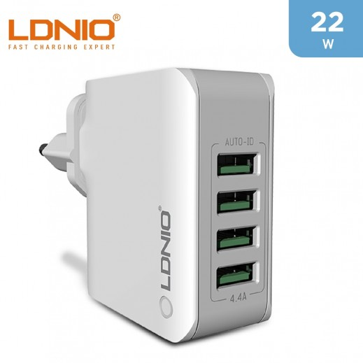 LDNIO 4 USB Wall Charger 4.4A UK - White