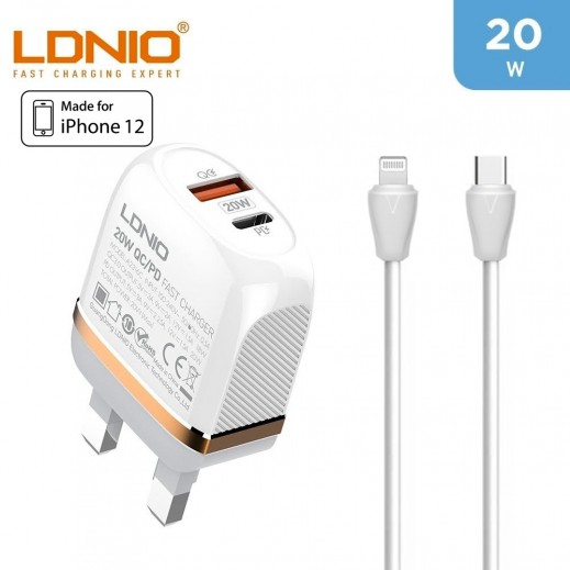 LDNIO 20W Two Ports Fast Charger For iPhone 12 + 1 m Type-C To Lightning Cable - White
