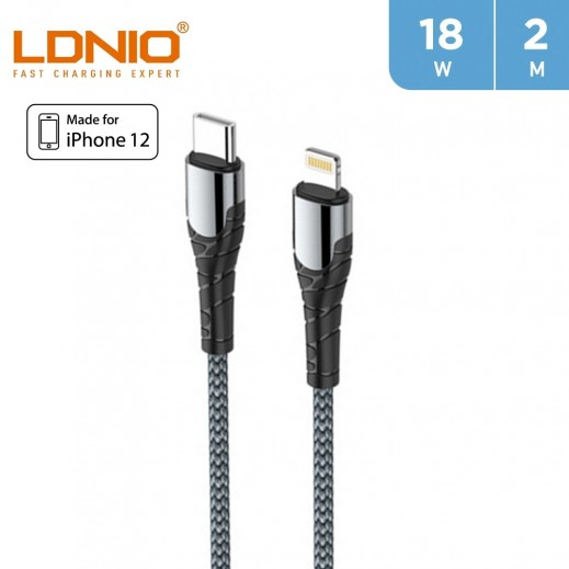 LDNIO 2m 18W Type-C to Lightning Cable - Gray