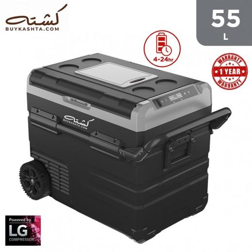 Kashta 55L Smart Fridge/Freezer (Cooling to -20 C) + LG Compressor + AC and DC Charging Cable + Solar Input