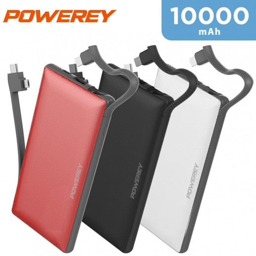 Powerey 10000mAh Power Bank with Built-in Cable