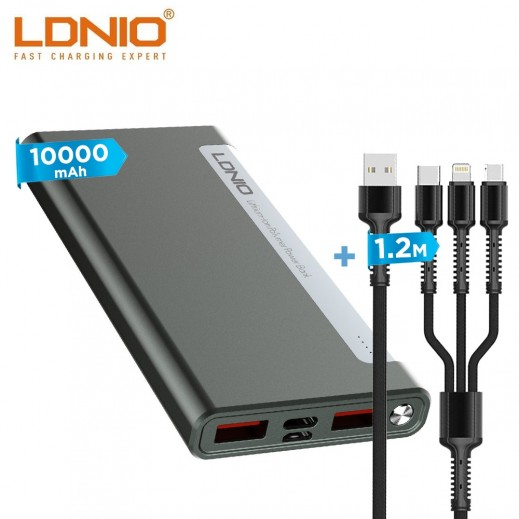 LDNIO 1.2m 3 in 1 Fast Charger Cable 3.4A - Gray + 10000mAh Dual USB Power Bank - Black