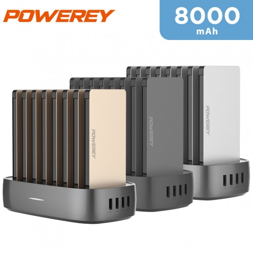 Powerey 8 in 1 Power Station 8000mAh with Built-In Cable