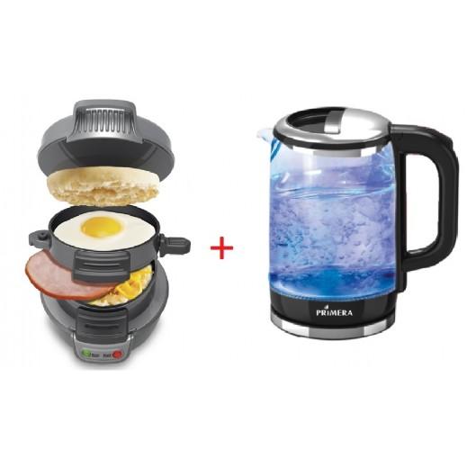 Primera Breakfast Sandwich Maker + Primera Glass Kettle 1.8 L