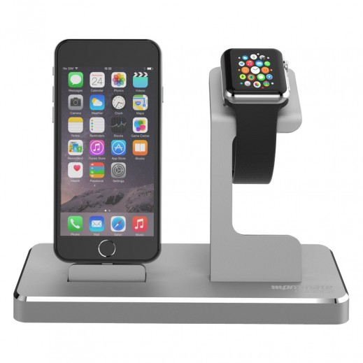 Promate NuDock Professional 3-in-1 Power Stage for Apple Watch Grey